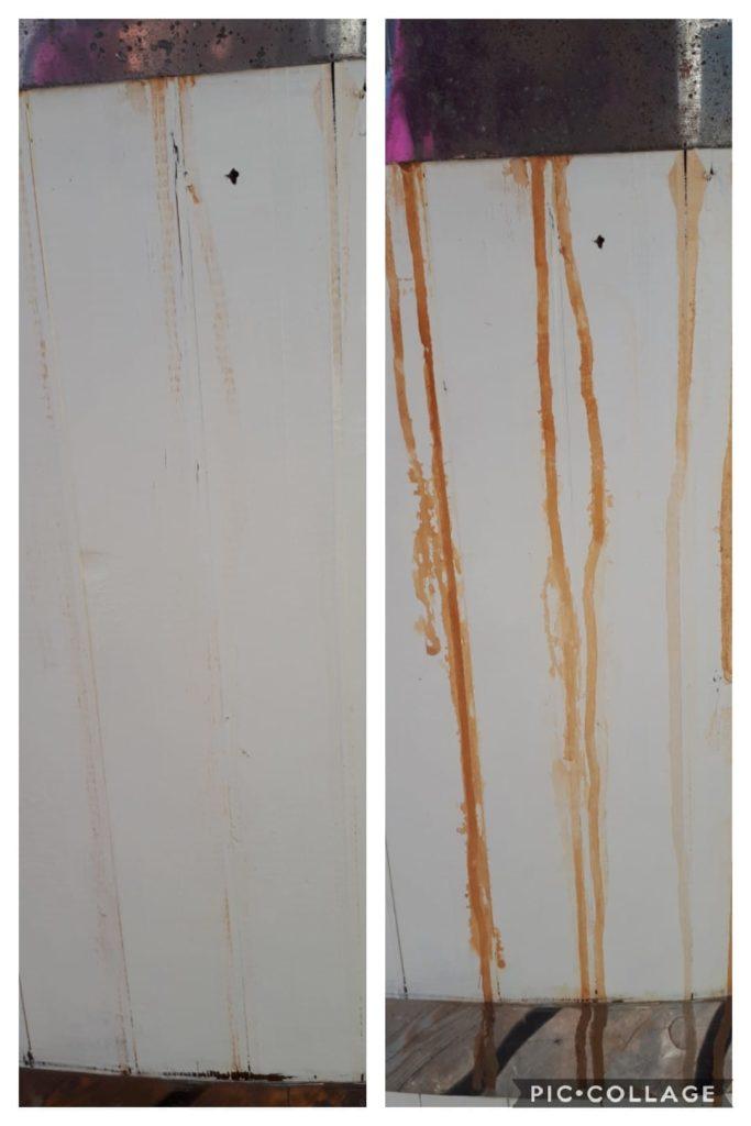 Puisen (ja maalatun) kylpytynnyrin kylkeen vanteesta irronneet ruostevesijäljet irtosivat lähes kokonaan siivoussaippualla