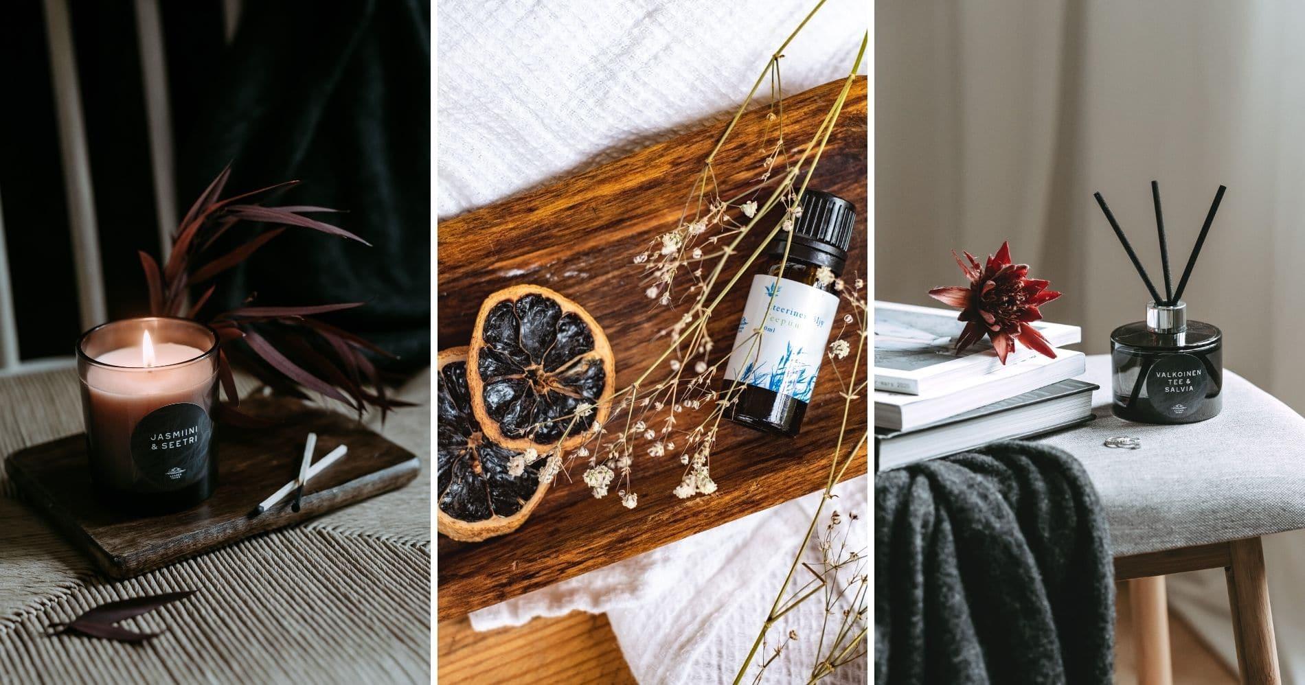 Sisusta tuoksuilla ja anna aisteillesi ripaus luksusta! Huonetuoksut, tuoksukynttilät ja eteeriset öljyt