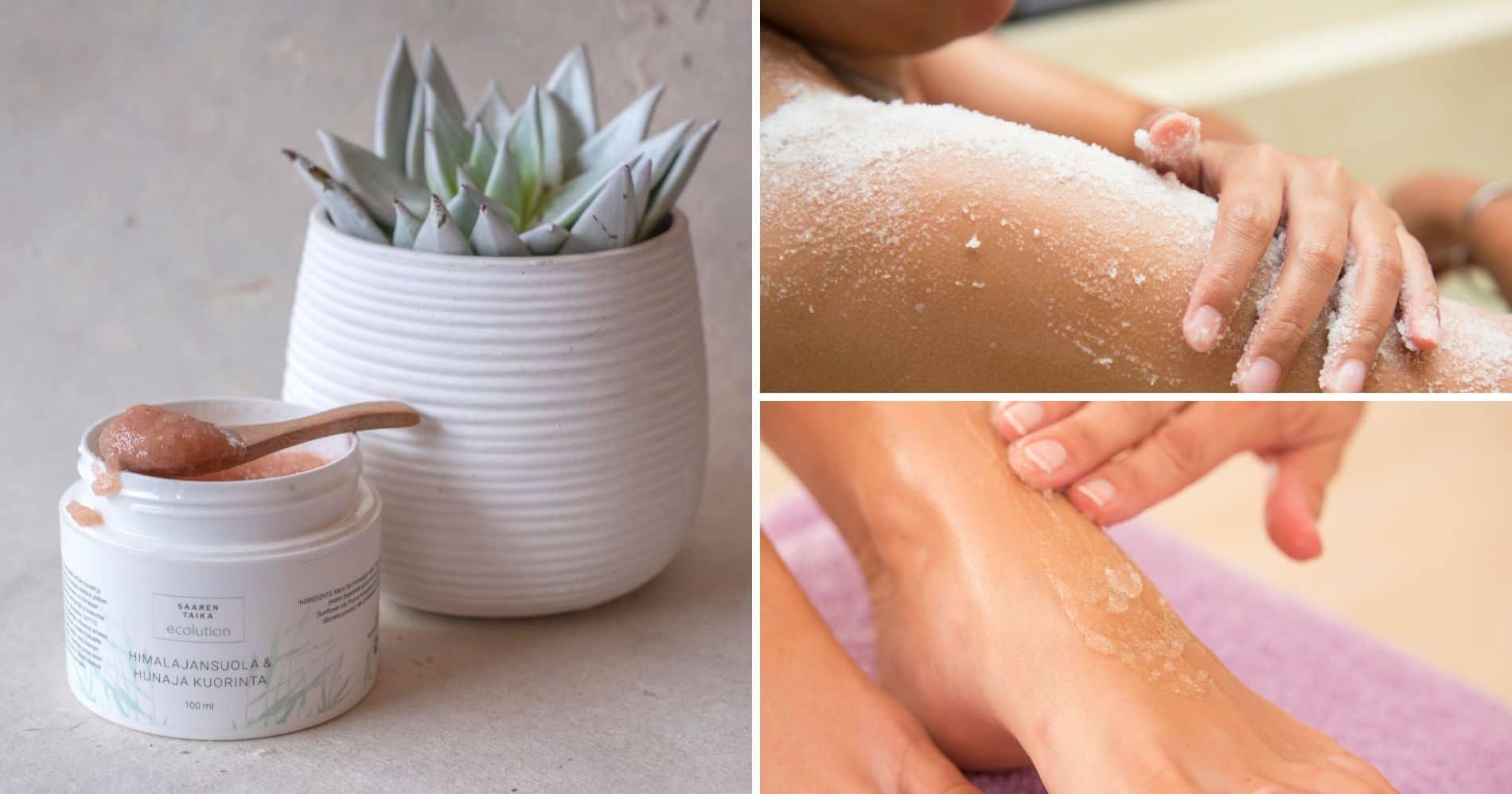 Kuorinta poistaa ihon pinnalle kertyneitä kuolleita ihosoluja ja tekee ihosta kirkkaamman, kuulaamman ja sileämmän. Kuorittu iho imee myös paremmin voiteiden ravintoaineet itseensä ja säilyy näin nuorekkaampana!